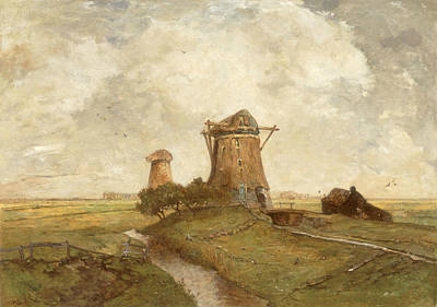 Two Windmills Between Abcoude And Ouderkerk On The Amstel Art Print by Paul Gabriel