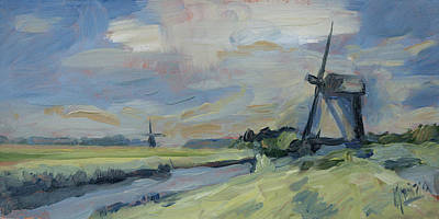Painting - Two Windmills In The Polder by Nop Briex