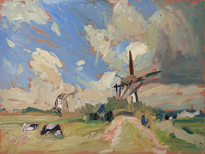 Holland Painting - Two Windmills by Nop Briex