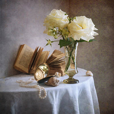 Two Withering White Roses Art Print by Nikolay Panov