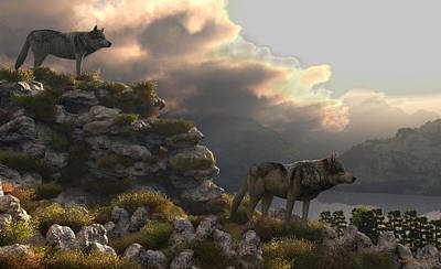 Digital Art - Two Wolfs On A Lookout  by Walter Colvin