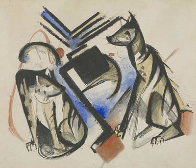 Franz Marc Painting - Two Wolves by Franz Marc