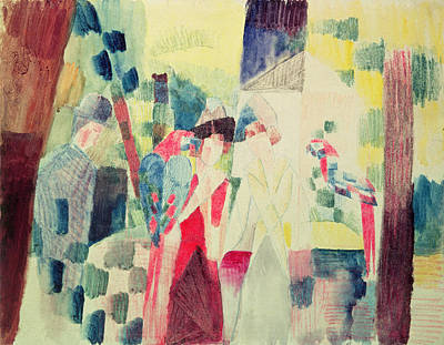 Two Women And A Man With Parrots Art Print by August Macke