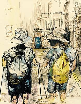 Painting - Texans On The Camino De Santiago by Chuck Gebhardt