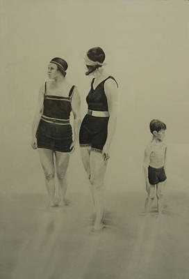 Two Women Bathers With Child Art Print by John C