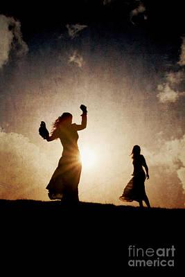 Two Women Dancing At Sunset Art Print