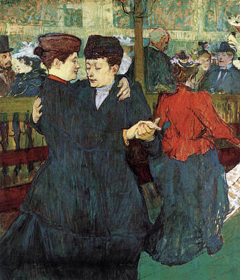 Couple Painting - Two Women Dancing At The Moulin Rouge by Henri de Toulouse-Lautrec