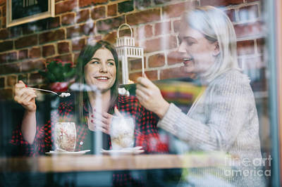 Photograph - Two Women Eating And Talking In A Restaurant by Michal Bednarek