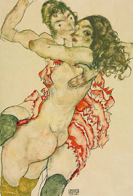 Drawing - Two Women Embracing  by Egon Schiele