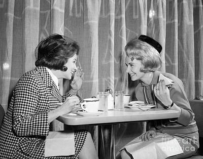 Two Women Gossiping At Lunch, C.1960s Art Print by H. Armstrong Roberts/ClassicStock