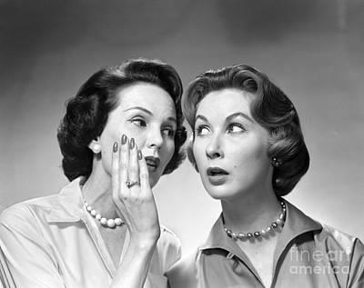 Secret Whispers Photograph - Two Women Gossiping, C.1950-60s by Debrocke/ClassicStock