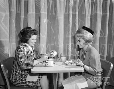 Two Women Having Lunch, C.1960s Art Print