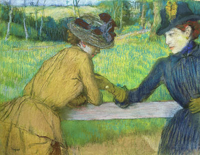 Two Ladies Pastel - Two Women Leaning On A Gate by Edgar Degas