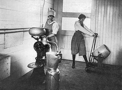 Milk Can Photograph - Two Women Making Butter by Underwood Archives