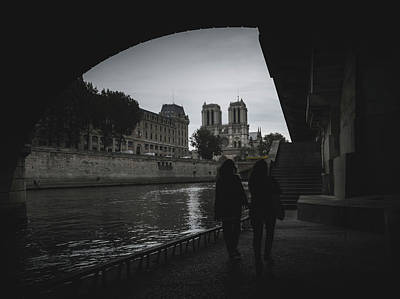 Photograph - Two Women Near The Notre Dame, Paris, France by Alexandre Rotenberg