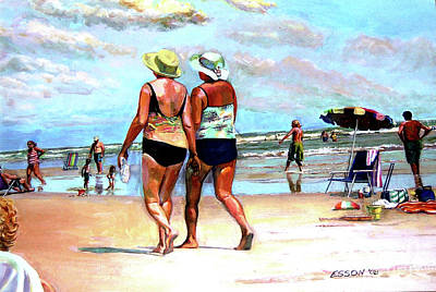 Two Women Walking On The Beach Art Print