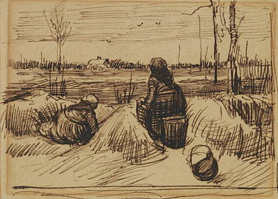 Asian Workers Painting - Two Women Working In The Fields, 1885 by Vincent Van Gogh