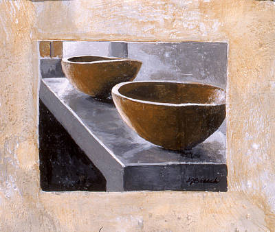 Matte Painting - Two Wooden Bowls by Susan  Brasch