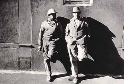 Two Workmen Against A Building Art Print