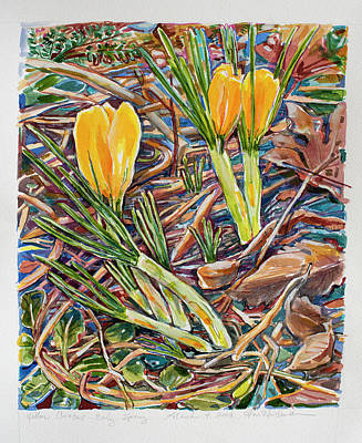 Painting - Two Yellow Crocus by Ann Heideman