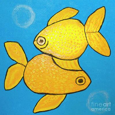 Painting - Two Yellow Fishes by Irina Afonskaya