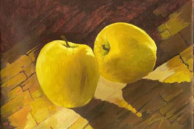 Painting - Two Yellow Pears by Victor Cuya