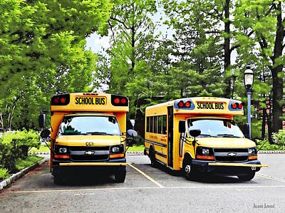 Photograph - Two Yellow School Buses by Susan Savad