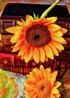 Knowledge Photograph - Two Yellow Sunflowers With Books by Garry Gay