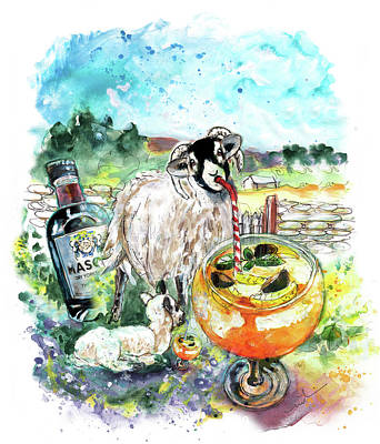 Painting - Two Yorkshire Sheep To The Wind by Miki De Goodaboom