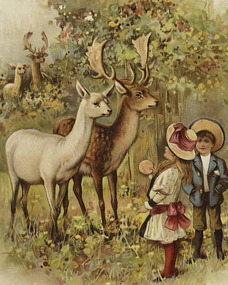 Stag Painting - Two Young Children Feeding The Deer In A Park by English School