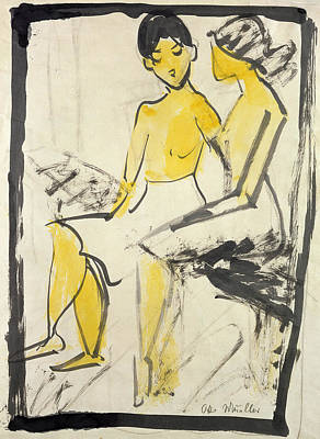 Lesbian Drawing - Two Young Girls by Otto Muller