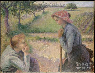 Peasants Painting - Two Young Peasant Women by Celestial Images