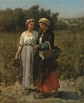 Painting - Two Young Women Picking Grapes by Jules Breton
