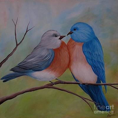 Painting - Two Bluebirds by Valerie Carpenter