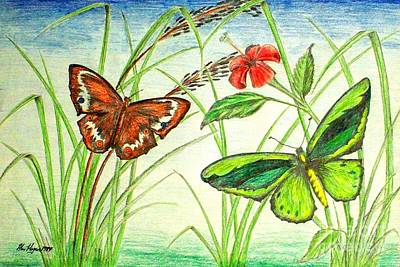 Fluttering Drawing - Two's Company by Alan Hogan