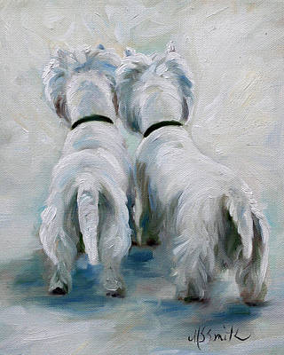 Terrier Painting - Two's Company by Mary Sparrow