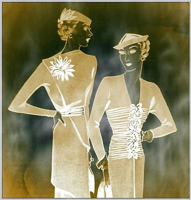 Vintage Fashion Mixed Media - Two's Company by Susan  Epps Oliver