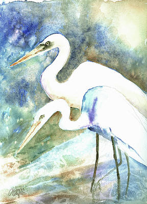 Egret Painting - Twosome  by Arline Wagner