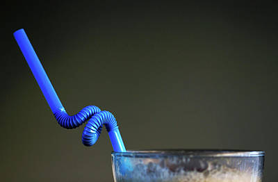 Photograph - Twsited Blue Coffee Glass Straw Minimalism by Prakash Ghai