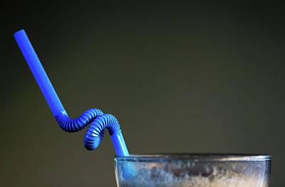 Photograph - Twsited Blue Coffee Glass Straw Minimalism by Prakash Ghai