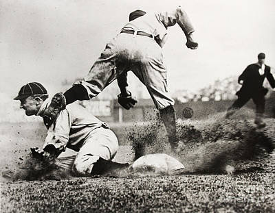 Third-oldest Photograph - Ty Cobb Gets A Triple by Jon Neidert