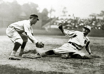 Third-oldest Photograph - Ty Cobb Safe At Third  by Jon Neidert