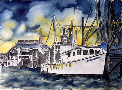 Boat Painting - Tybee Island Georgia Boat by Derek Mccrea