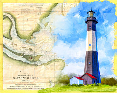 Mixed Media - Tybee Island Light - Vintage Nautical Map by Mark Tisdale