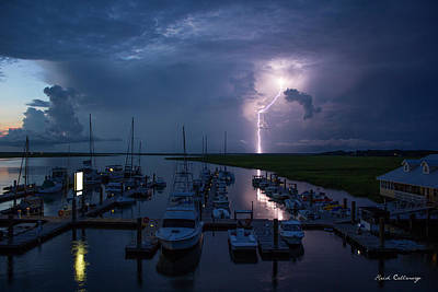 Best Ocean Photograph - Tybee Island Lightning Savannah Georgia by Reid Callaway