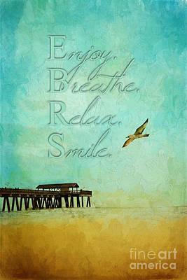 Painting - Tybee Island Pier Enjoy Breathe Relax Smile by Christina VanGinkel