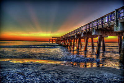 Photograph - Red Sunrise Tybee Island Pier Seascape Art by Reid Callaway