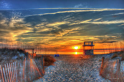 Photograph - Tybee Island Sunrise With The Life Guard Sled And Sand Dune Fences Art by Reid Callaway