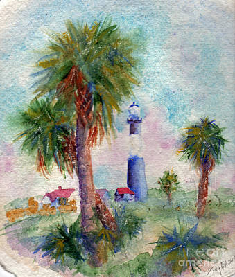 Tybee Lighthouse And Palms Art Print by Doris Blessington