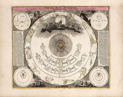 Drawings Royalty Free Images - Tychonic System of the Worlds - Antique Chart of the Planets - Illustrated Chart - Celestial Chart Royalty-Free Image by Studio Grafiikka
